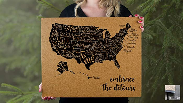 Amazon.com: Embrace the Detours - 50 States - USA - Labeled States ...