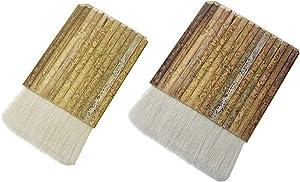 2PCS Sheep Hair Hake Blender Brush,Hake Multihead Bamboo Brush Latex Paint Brush for Kiln Wash,Watercolor, Ceramic, Pottery Painting Drawing Drafting