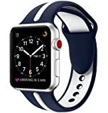 EloBeth Compatible Apple Watch Band 42mm, Soft Silicone Sport Replacement Wrist Strap Stripe Color Splicing for Apple Watch Series 3/2/1 Nike+ Sport Edition Smart IWatch (Stripe-Blue/White, 42mm)