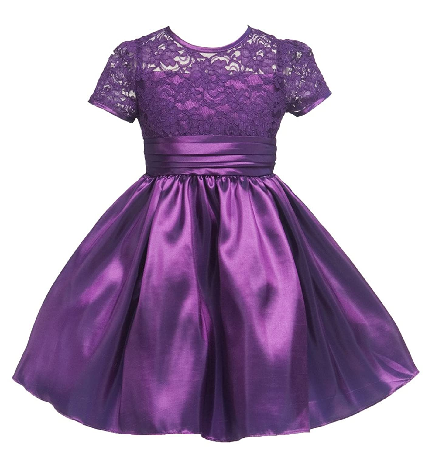 Amazon.com: KID Collection Girls Lacey Party Dress 4 Purple (kid ...
