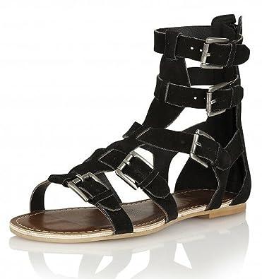 1570d279c2e RAVEL Los Angeles- Womens Black Genuine Suede Gladiator High Ankle Flat  Sandals Roman Shoes size 5  Amazon.co.uk  Shoes   Bags