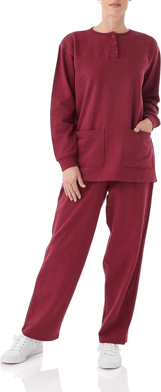Women's Casual Selling rankings Two Piece Fleece Henley Pullover Swea Top Import Pantset