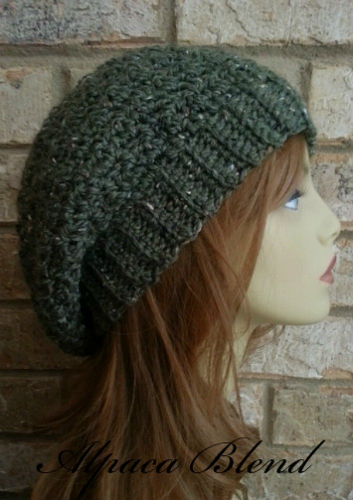 eea3ba288f00a Amazon.com  Slouchy Beanie Hat Olive Green Alpaca Merino Wool for Women  Crochet Made in USA  Handmade