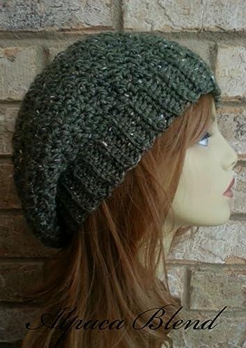 Amazon.com  Slouchy Beanie Hat Olive Green Alpaca Merino Wool for Women  Crochet Made in USA  Handmade faa430c1939