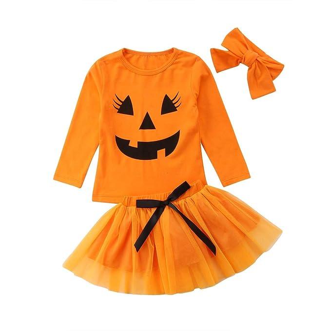 Vestido Infantil de Tul de Halloween para Ni/ña Mangas Cortas con Pajarita en Tama/ño de Tema de Calabaza 6 Meses - 5 A/ños