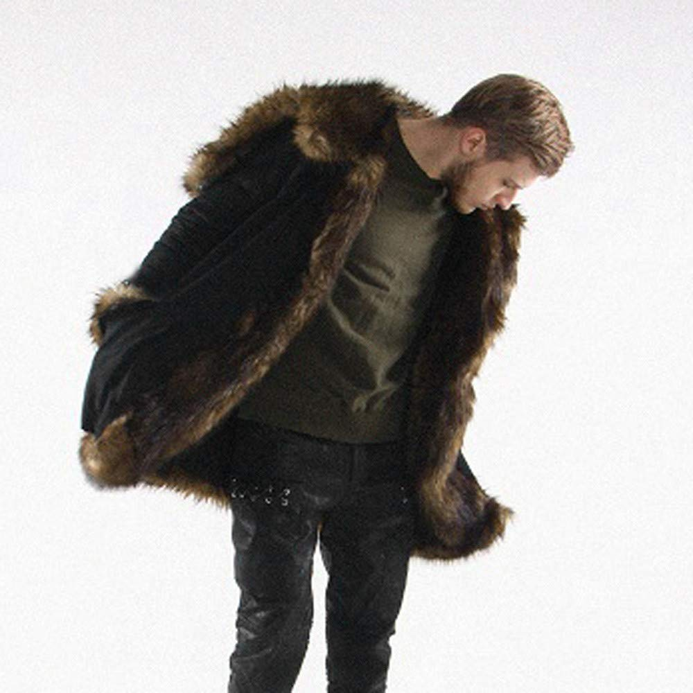 Napoo-Men Coat Mens Warm Faux Fur Plus Thicker Long Hoodie Cardigan Parka Outwear at Amazon Mens Clothing store: