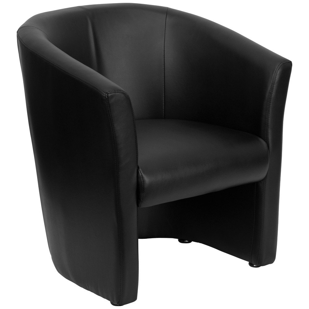 Amazon.com: Flash Furniture Black Leather Barrel Shaped Guest Chair:  Kitchen U0026 Dining