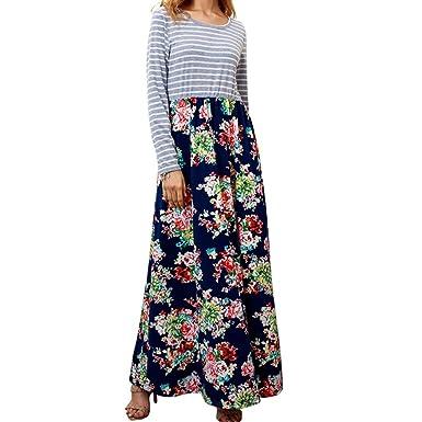 Longra Maxikleider Damen Kleider Damen High Waist Herbst Kleider Langarm  Streifen-Blumen Kleid Schöne Kleider fde72d98f3