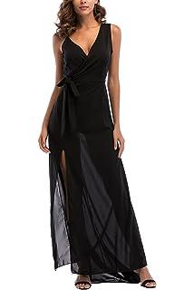 8af5adf3e31 YOSICIL Femme Robe Longue Été Noir Col V Sexy Robe à Fentes sans Manches  Chic Robe