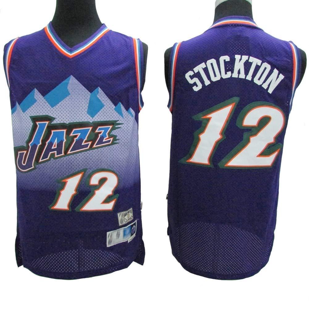 New Men/'s Utah Jazz Basketball Jersey NO.12 Shirt John Stockton retro White