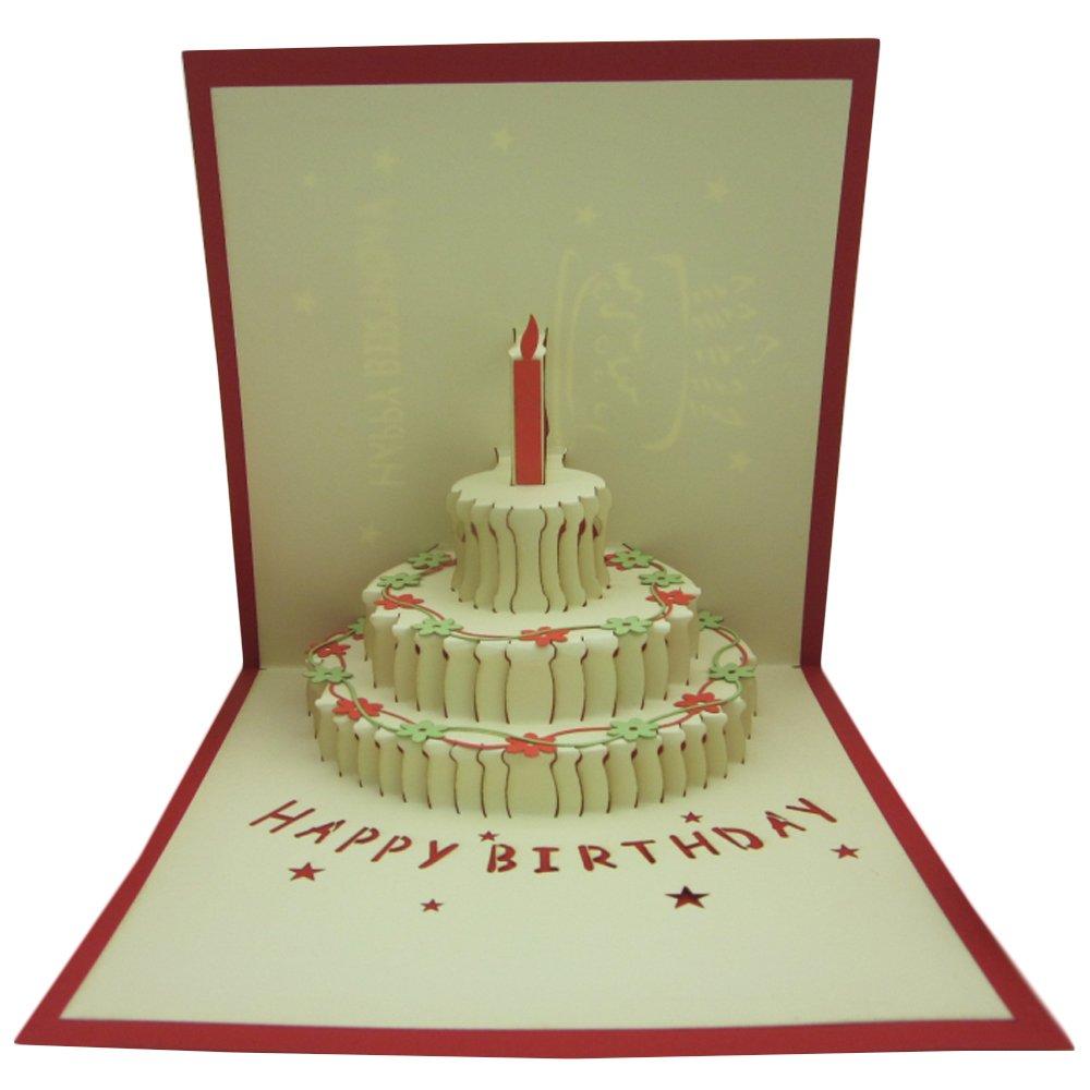 Amazon Papercraft PopUp 3D 3Layers Birthday Cake Birthday – Papercraft Birthday Card