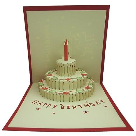 Amazon.com: Pop-up 3d 3 capas torta de cumpleaños tarjetas ...