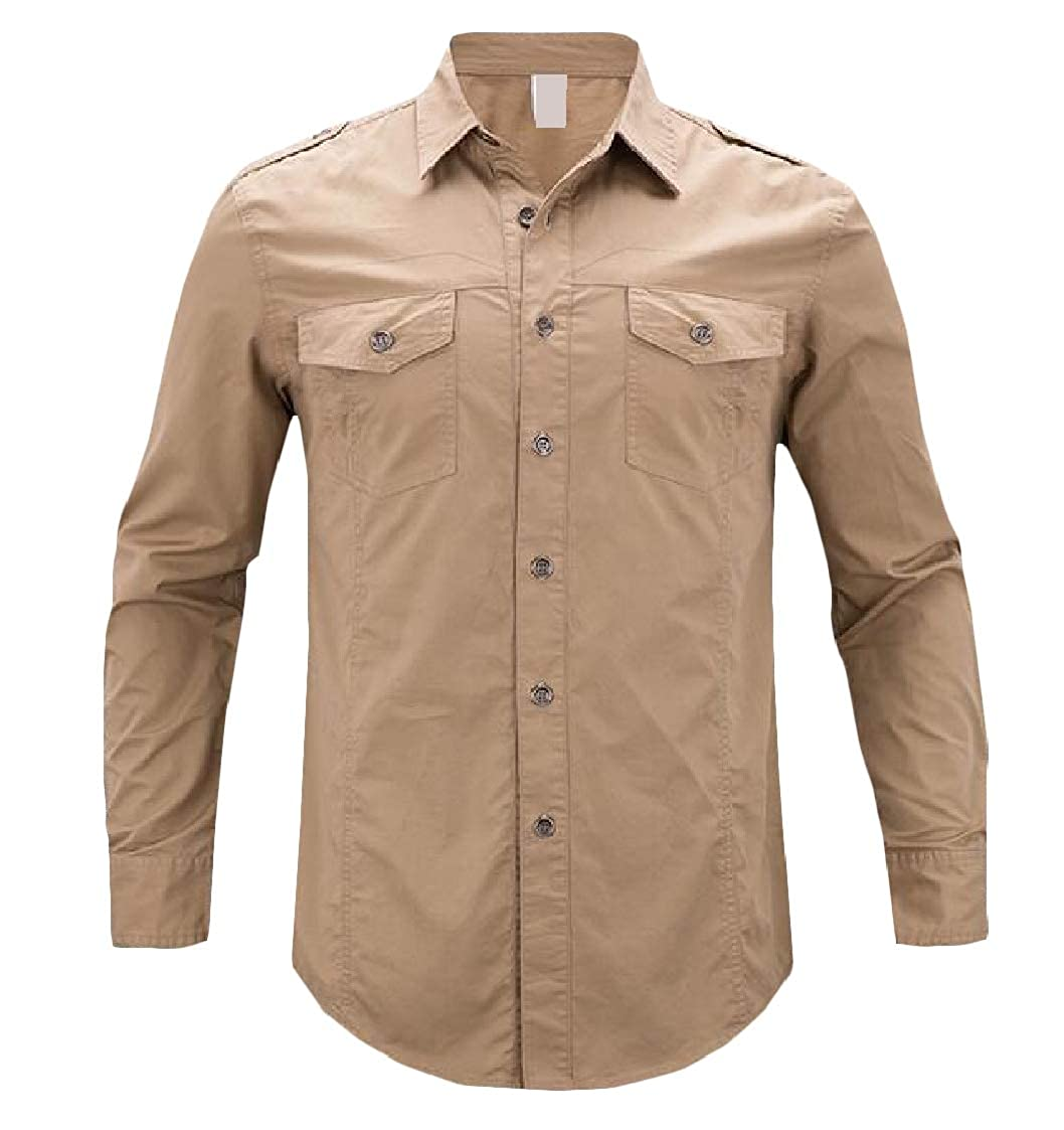 Lutratocro Men Stylish Solid Color Long Sleeve Regular Collar Button Front Shirts