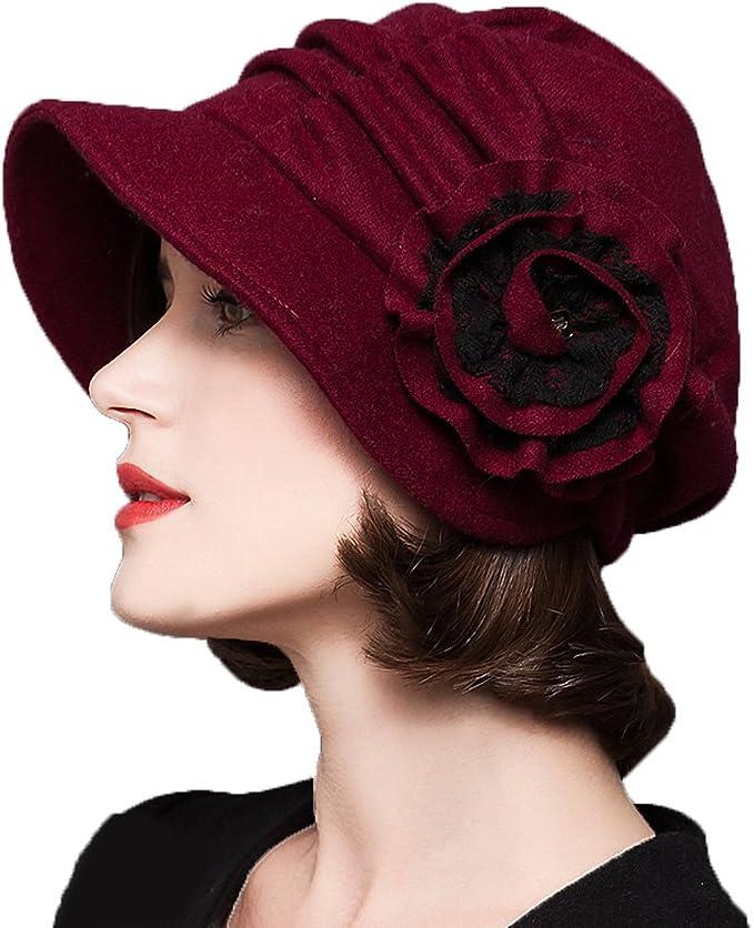 Flower wool beret hat