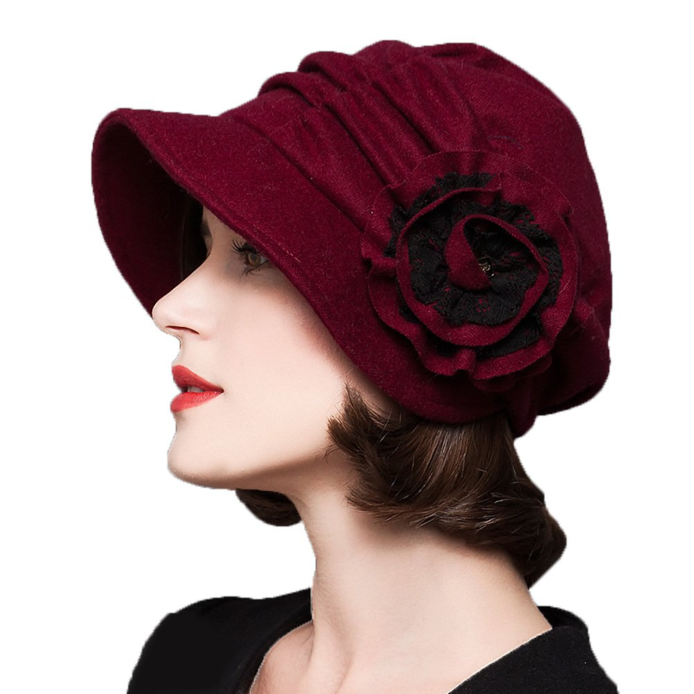 Maitose&Trade; Women's Decorative Flowers Wool Beret Red