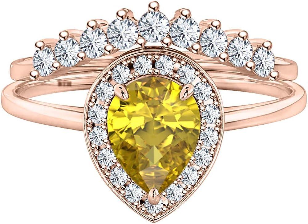 RUDRAFASHION Engagement 14k Yellow Gold Plated Pear Shape Gemstone Wedding Teardrop Fashion Ring for Womens
