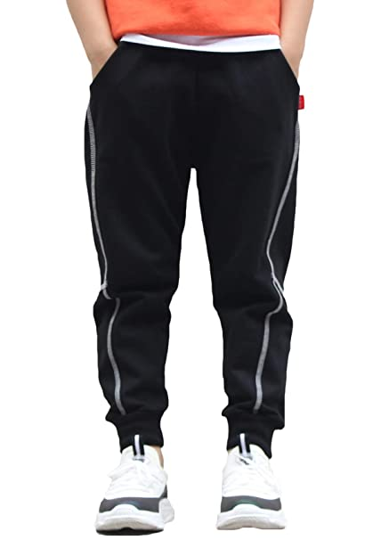 228e7e3a Okuche Seville Boys Black Casual Cotton Active Sweatpants Fashion Joggers  Slim Fit Athletic Pants 4