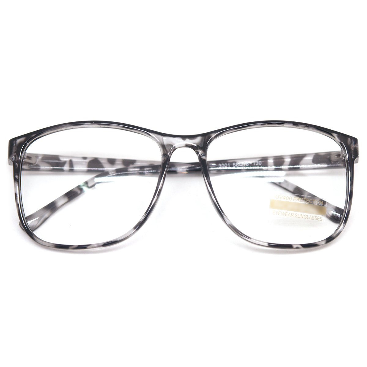 e2ab72daad Amazon.com  Large Nerd Thin Eyeglasses Vintage Fashion Inspired Geek Clear  Lens Horn Rimmed (BLACK LEOPARD  E3001