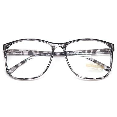 c7b807dda004 Large Nerd Thin Eyeglasses Vintage Fashion Inspired Geek Clear Lens Horn  Rimmed (BLACK LEOPARD