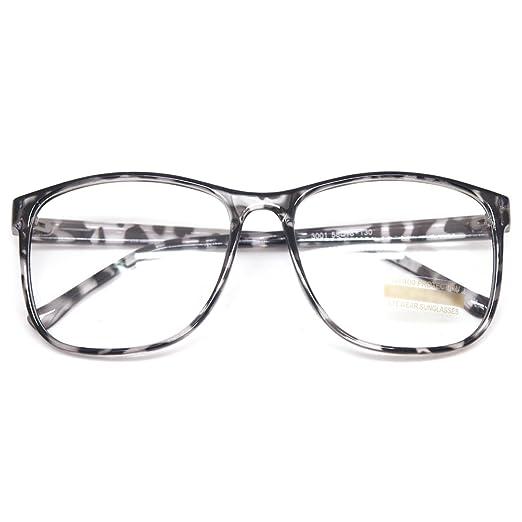 fd8edd10644 Large Nerd Thin Eyeglasses Vintage Fashion Inspired Geek Clear Lens Horn  Rimmed (BLACK LEOPARD