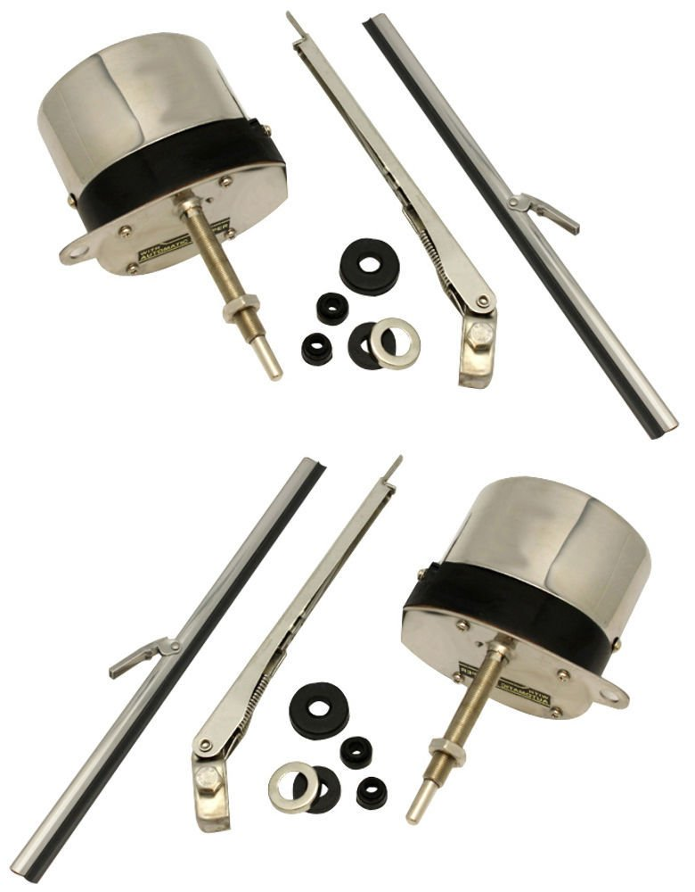 12V STAINLESS WINDSHIELD WIPER MOTOR KIT STREET ROD JEEP CHEVY MOPAR FORD, PAIR by Pirate Mfg