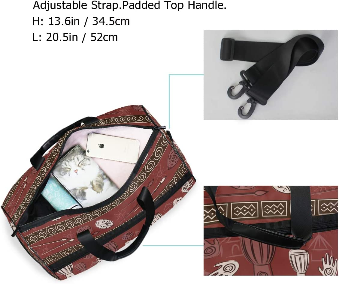 FANTAZIO African Floral Sports Duffle Bag Gym Bag Travel Duffel with Adjustable Strap