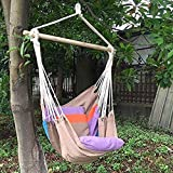 Hammock Swing Chair – 48 Inches Hanging Rope Chair Porch Swing Outdoor Chair Lounge Camp Seat At Patio Lawn Garden Backyard Beach Red