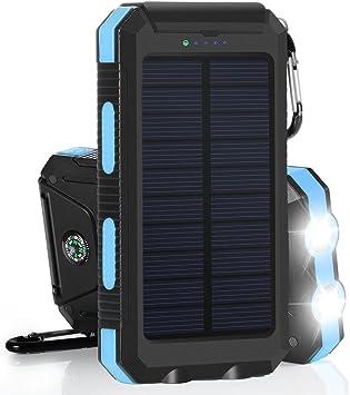 10000mAh Cargador Solar Impermeable, Batería Externa Portátil con ...
