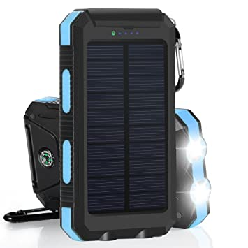 10000mAh Cargador Solar Impermeable, Batería Externa Portátil con 2 LED para para iPhone, Android Smartphone, Tables y Otros Dispositivos Digitales