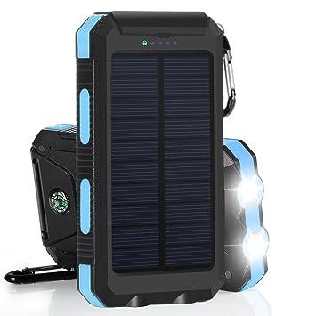 10000mAh Cargador Solar Impermeable, Batería Externa Portátil con 2 LED para para iPhone, Android Smartphone, Tables y Otros Dispositivos Digitales