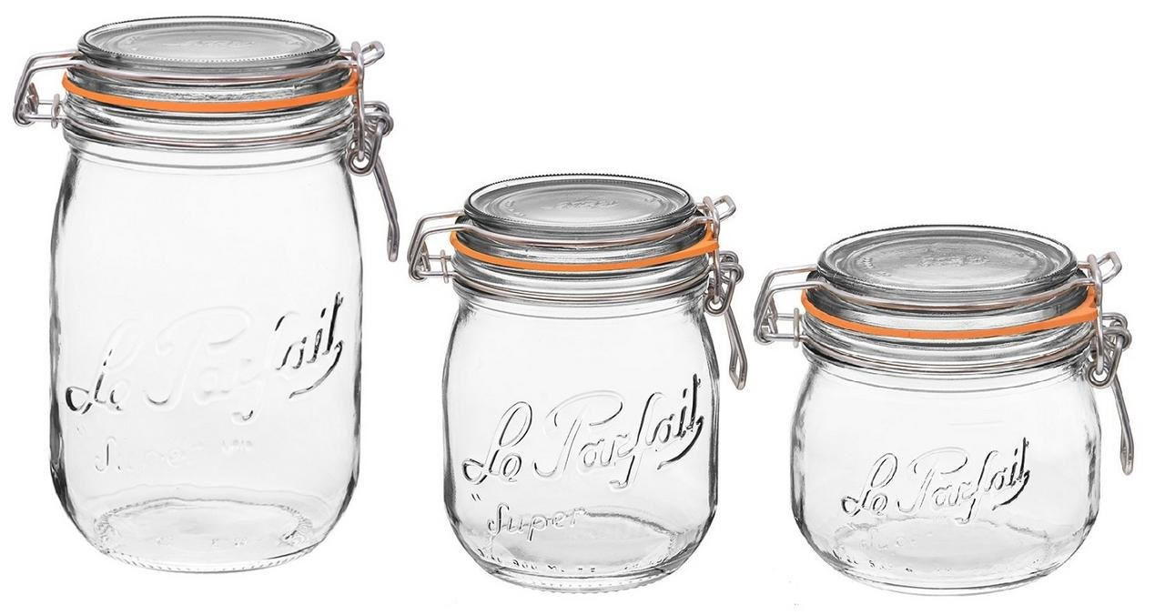 Le Parfait French Glass Canning Jar with 85mm Gasket and Lid Bundle Variety Kit - .5 Liter, .75 Liter & 1 Liter (Variety Pack) Down To Earth Distributors