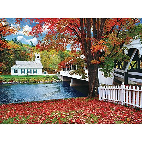 KODAK Premium Puzzles Covered Bridge Crossing River to Church, Stark New Hampshire Jigsaw Puzzle (1000 Piece)