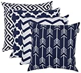 outdoor throw pillow blue - Accent Home Square Printed Cotton Cushion Cover,Throw Pillow Case, Slipover Pillowslip For Home Sofa Couch Chair Back Seat,4pc pack 18x18 in Navy color