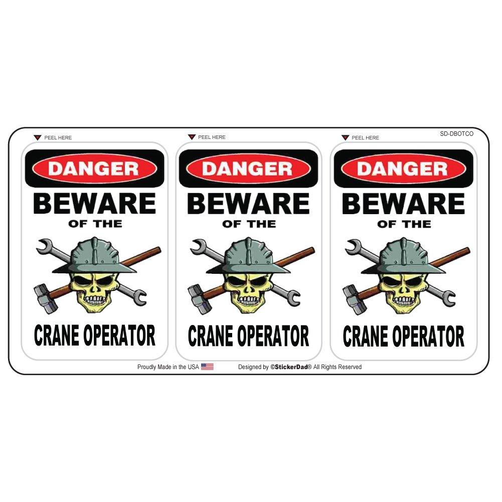 Danger Beware Of The Crane OperatorハードHatヘルメットステッカー( 3パック) by stickerdad – (サイズ: 2.25