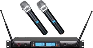 GTD Audio 2x100 Changeable Frequency Channels UHF Wireless Hand-held Microphone Karaoke Mic System DJ 622H