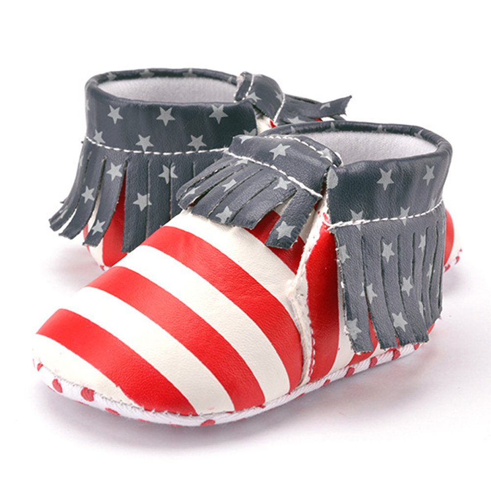 chinatera Baby Infant Prewalker PU Leather American Flag Tassel Crib Moccasins Shoes