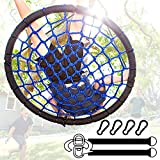 Giant Tree Swing + Easy Install Hanging Strap Set + Adjustable Ropes + Spinner Kit + Heavy Duty Weatherproof Spider Web Seat - Fully Assembled Steel Frame Holds 600 lbs Kids & Adults