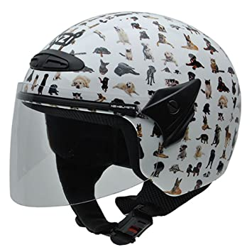 NZI 050269G709 Helix Jr Graphics Bestfriends Casco de Moto, Diseño de Animales, Talla 50