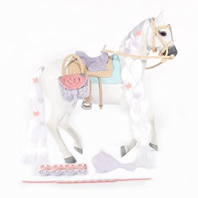 Saddle Stars Toy Horse Set (Pixie) | Customizable White Horse Figurine | Includes Brush, Reins, Saddle, & Other Horse Accessories | Great Gift & Toy for Girls: Toys & Games
