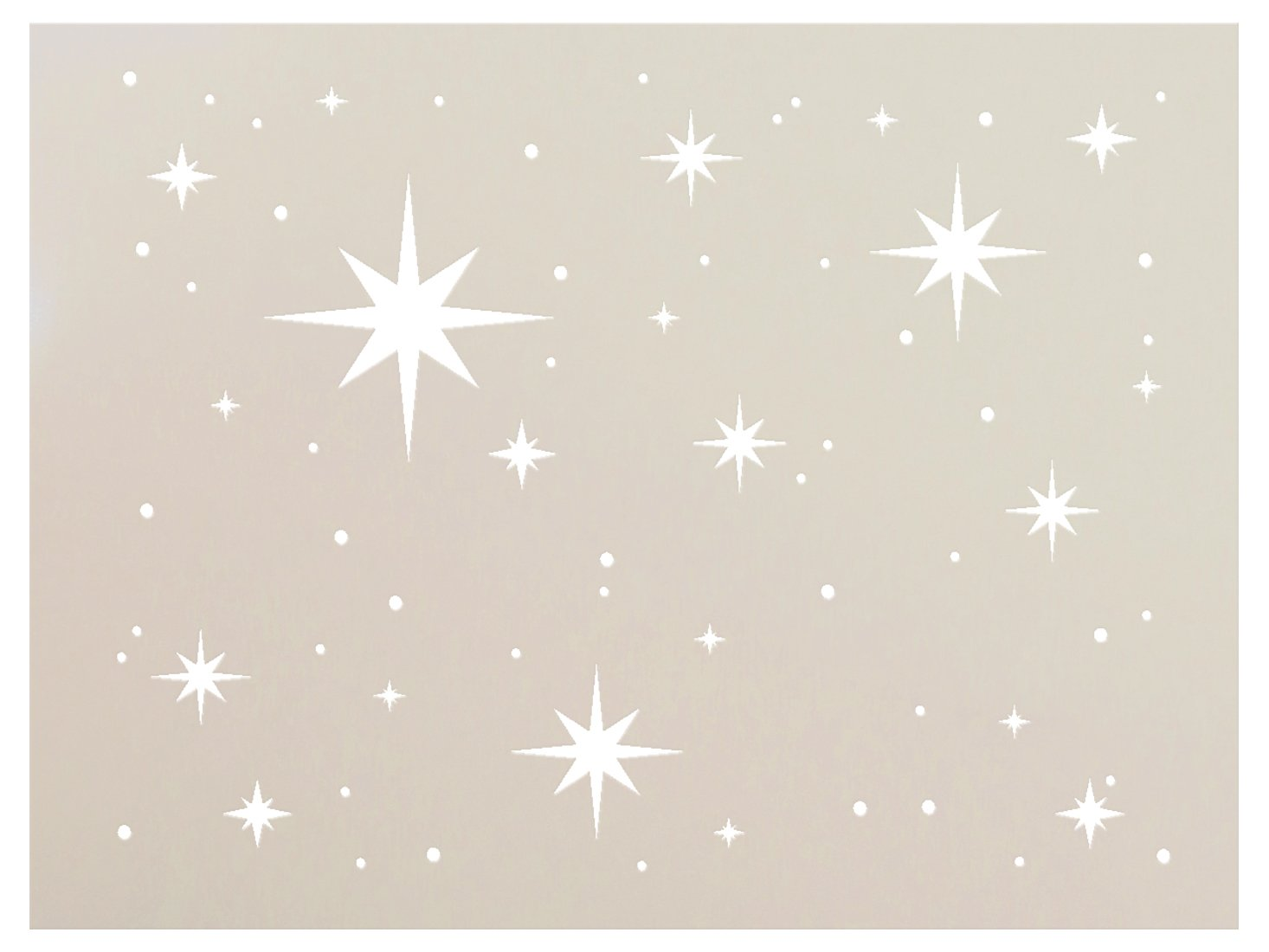Twinkle Stars Stencil by StudioR12 | Fun Elegant - Reusable Mylar Template | Painting, Chalk, Mixed Media | Use for DIY Home Decor - STCL578_5 | Multiple Sizes Available (26'' x 19'')