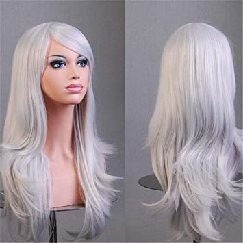 Amazon.com   Women Wigs Synthetic Hair Long Wavy Blonde Pink Red Green  Brown Purple Black White Dark Blue Wig 70 Cm Female Silver Grey 26inches    Beauty 47562938d9