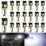 20-Pack BA9S BA9 12146 1445 1705 White LED Light 12V,5 SMD 5050 Chipset Car Interior Replacement 6253 64111 Bulb For Map Dome Courtesy Trunk License Plate Glove Box Side Marker Light
