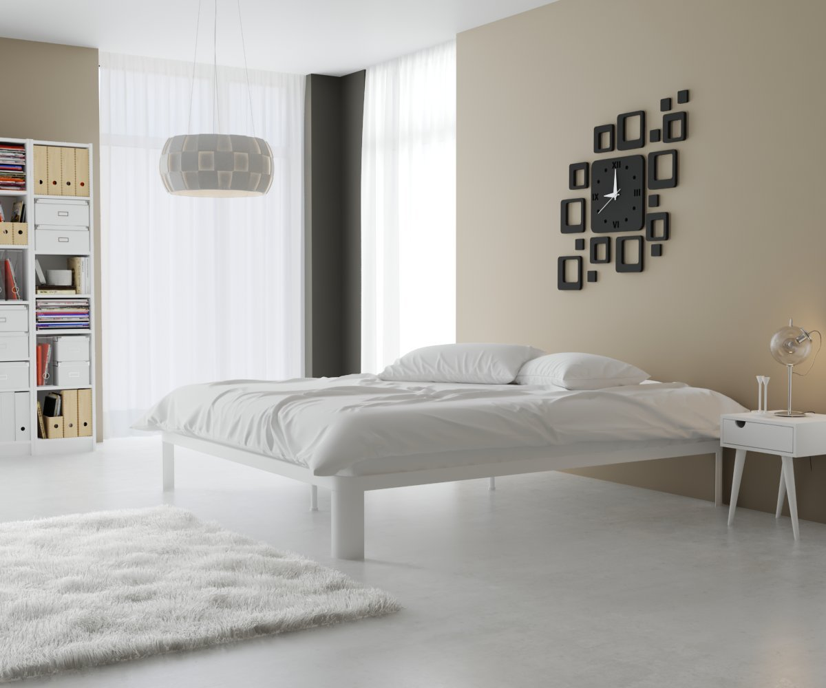 quality design d0a16 17fa8 In Style Furnishings Contemporary Minimalist Furniture Lunar Low Profile  Platform Bed with Metal Frame & Durable Slats - King, White