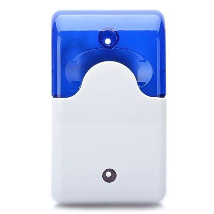 SYMTOP 12V Sirena Alarma de Seguridad para Hogar con Azul Strobe Luz Intermitente
