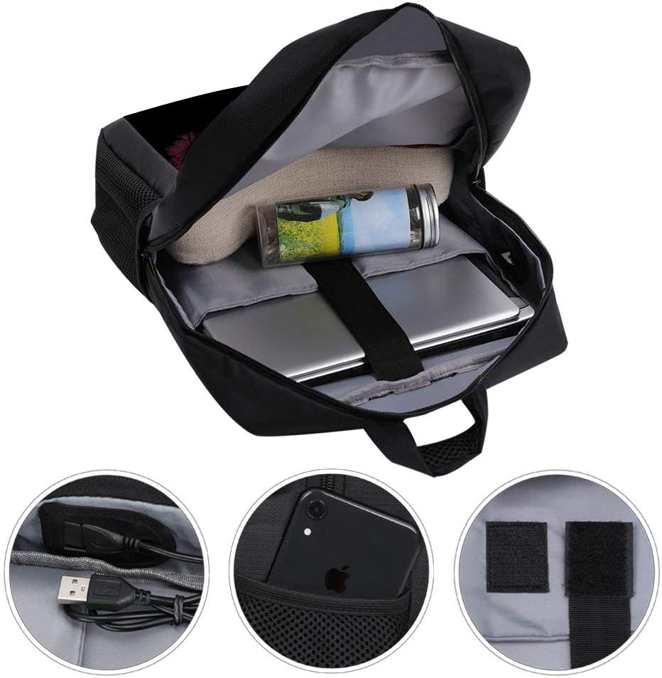 Kirby Silhouette Super Smash Bros Backpack Daypack Rucksack Laptop Shoulder Bag with USB Charging Port
