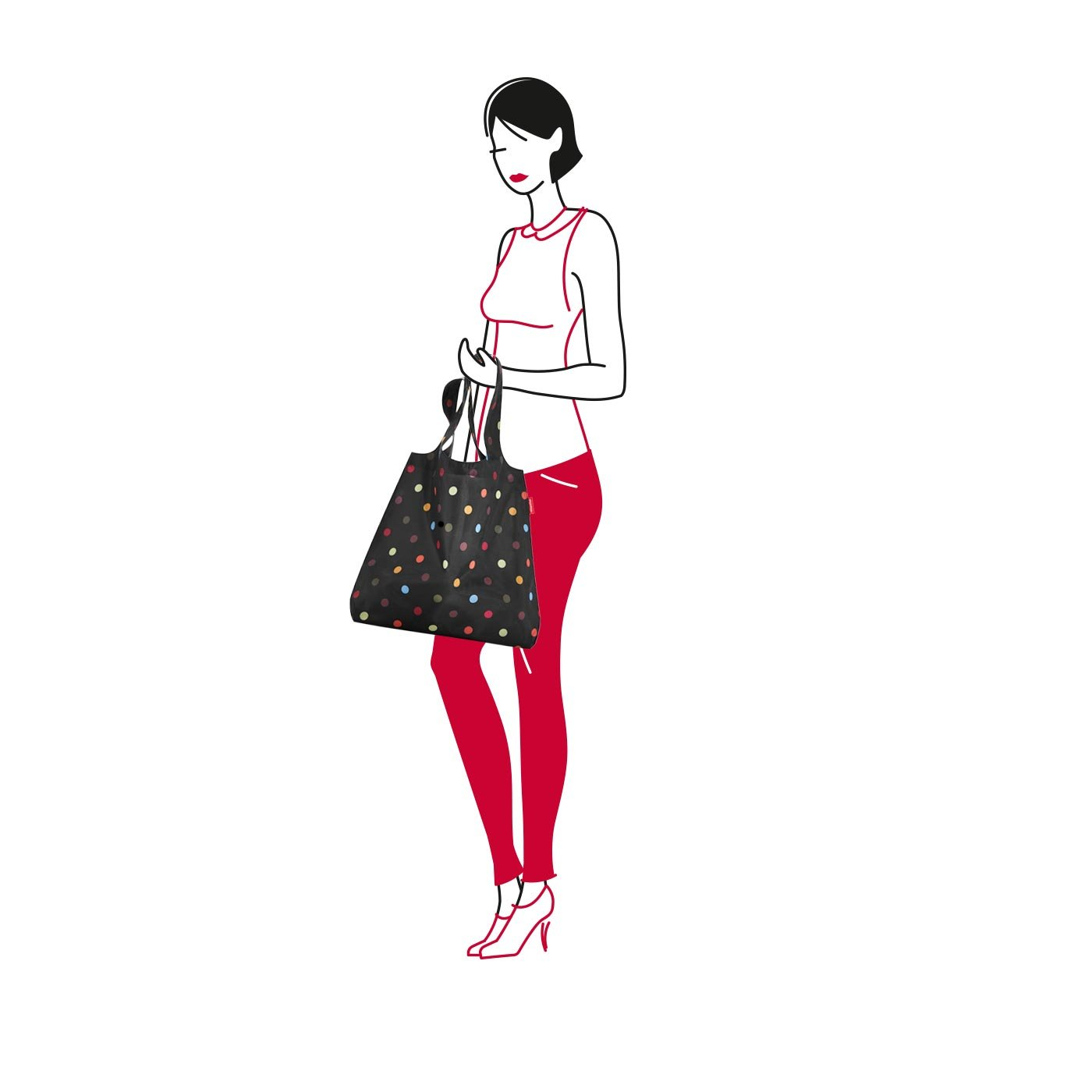 reisenthel Mini Maxi Shopper, Foldable Reusable Shopping Tote with Elastic Band, Dots by reisenthel (Image #4)