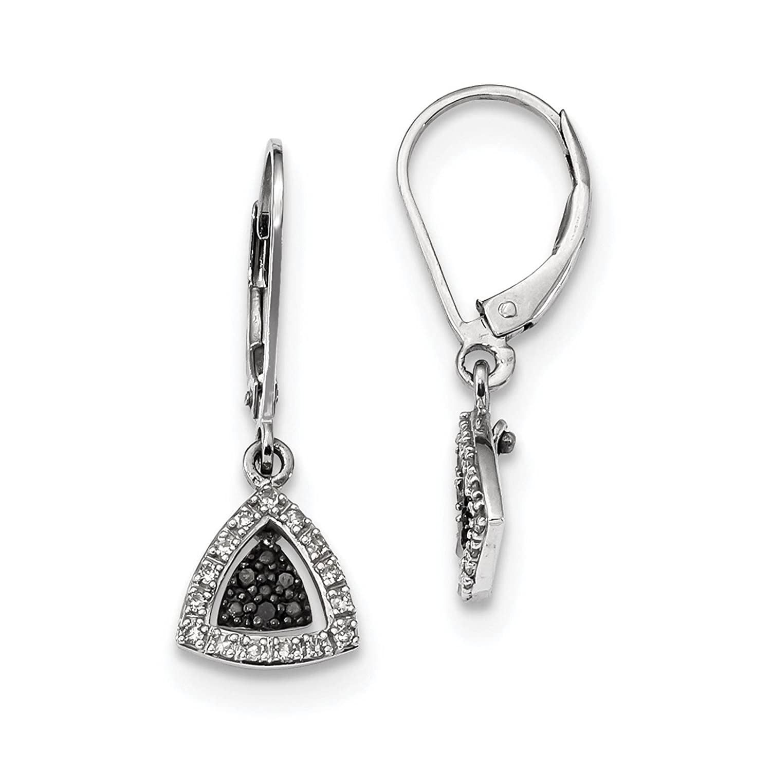 925 Sterling Silver Rhodium-plated Black /& White Diamond Dangle Earrings by White Night