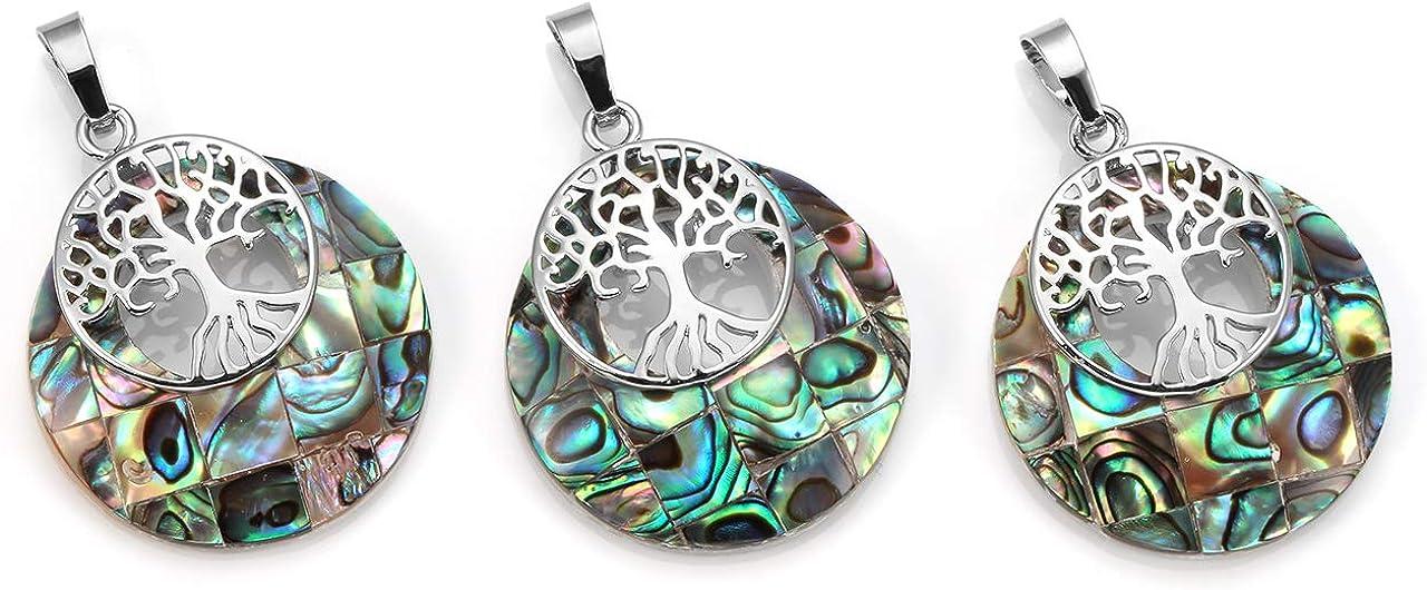 CrystalTears Collana con Ciondolo a Forma di Albero della Vita in Colore Argento Pendente di Guarigione in Pietra Naturale Cristallo per Donna Multicolore