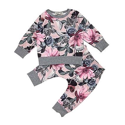Feixiang Bebé recién Nacido Ropa para niña Chaqueta Camiseta Top + Pantalones Florales Conjunto de Medias