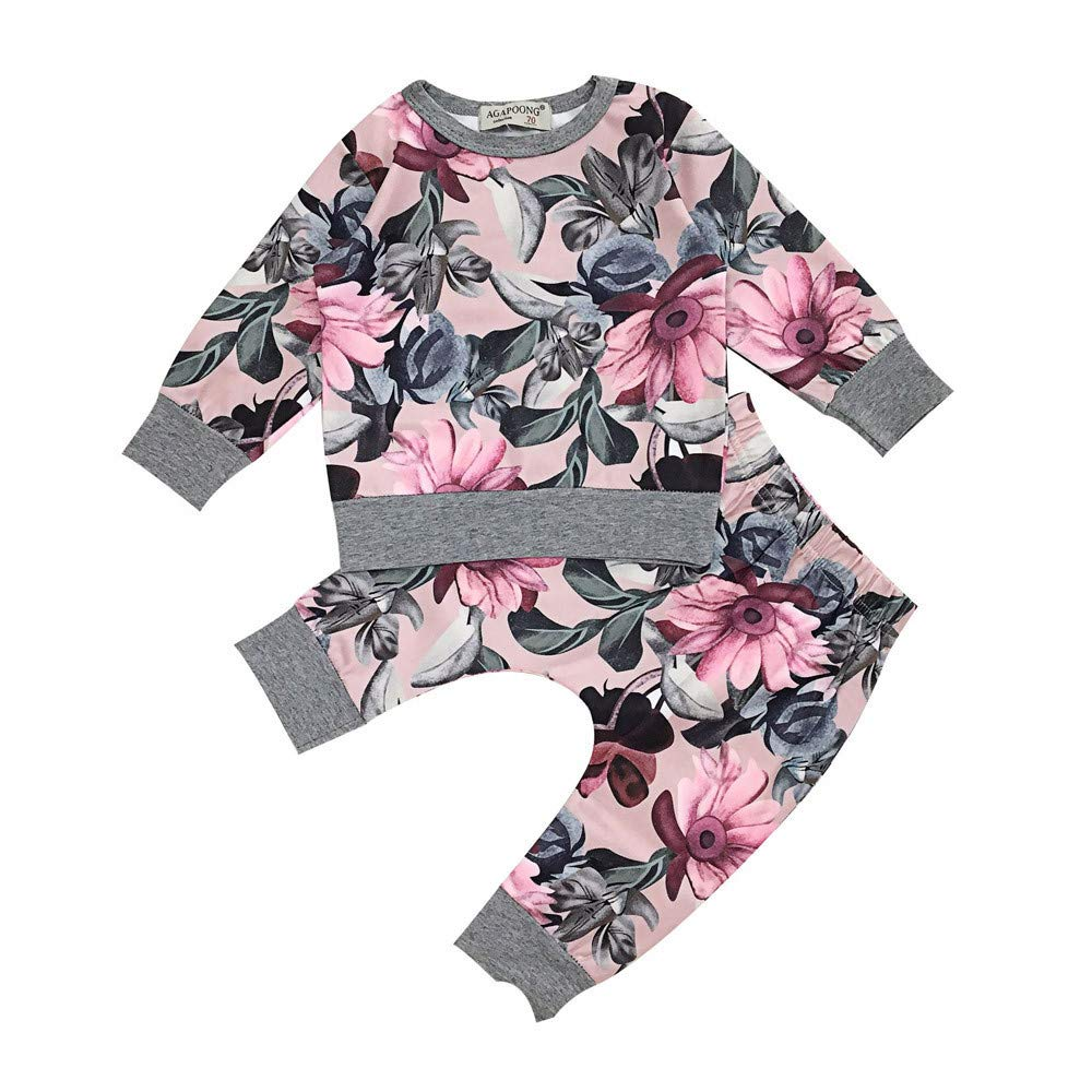 Evansamp Newborn Baby Girls Clothes Floral Print Long Sleeve Pullover T-Shirt Tops+Pants Outfits Pajamas Suit